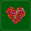 Button-heart. Background picture. Red to green. Plastic buttons sewn with white thread. Vector .