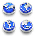 Button Icon: Blue World Royalty Free Stock Images