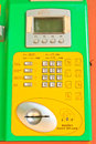 Button number public telephone coin and card in thailand Royalty Free Stock Photo