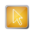button with pixelated arrow cursor with background yellow Royalty Free Stock Photo