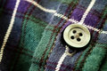 Button on Plaid Flannel Shirt Royalty Free Stock Photo