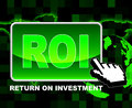 Button roi means world wide web and investments investment indicating website Stock Photos
