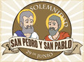 Button with Saints Peter and Paul for Solemnity in Spanish, Vector Illustration