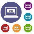 Button sale on laptop icons set Royalty Free Stock Photo