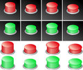 Button set of red and green buttons Stock Images