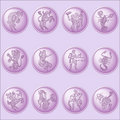 Button set with signs of zodiac Royalty Free Stock Images