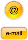Button for site or internet crystal yellow round and square web with icon e mail Stock Images