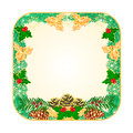 Button square Christmas with pinecones holly and yew vector