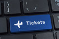 Button tickets with plane icon. Stock Photography