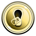 Button top opened gold can of beer vector Stock Images