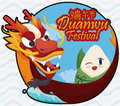 Button with Traditional Zongzi over Dragon Boat for Duanwu Festival, Vector Illustration Royalty Free Stock Photo