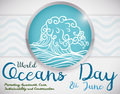 Button with Wave and Some Precepts about World Oceans Day, Vector Illustration