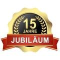 button 15 years jubilee & x28;in german& x29;