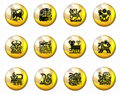 Buttons Astrology Chinese Zodiac - Whole Set Royalty Free Stock Photo