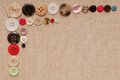 Buttons are on beige canvas artistic Royalty Free Stock Image