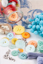 Buttons colorful are ready for sewing Stock Photography