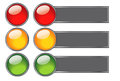 Buttons with colours of traffic light for web design elements illustration Stock Image