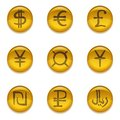 Buttons with currency signs set golden money icons Stock Image