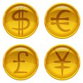 Buttons with currency signs set golden money icons dollar euro pound yen vector eps contains transparencies Stock Image