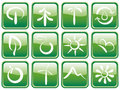 Buttons with ecological symbols Royalty Free Stock Images