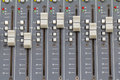 Buttons equipment for sound mixer control select focus a Stock Photography