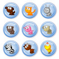 Buttons farm pets Royalty Free Stock Photo