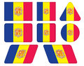 Buttons with flag of andorra set Stock Photo
