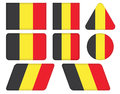 Buttons with flag of belgium set Royalty Free Stock Images