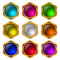 Buttons with gems, set, round Royalty Free Stock Photo