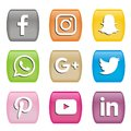 Buttons Icons of social media logos