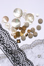Buttons and laces for sewing Royalty Free Stock Photos