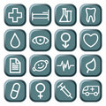 Buttons with medical symbols Royalty Free Stock Photos