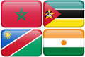 Buttons: Morocco, Mozambique, Namibia, Nigerien Royalty Free Stock Images