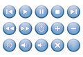 Buttons for music player set of blue round Stock Image