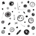 Buttons and needles set ink drawing vintage in eps vector illustration Stock Photos