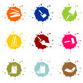 Buttons for painters colorful blob house painter Royalty Free Stock Photos