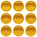 Buttons with patterns set of round yellow web abstract and golden frames eps contains transparencies Royalty Free Stock Photography