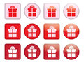 Buttons with present box set of Royalty Free Stock Photography