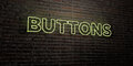 BUTTONS -Realistic Neon Sign on Brick Wall background - 3D rendered royalty free stock image