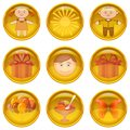 Buttons set childhood of round yellow icons with symbols isolated on white background eps contains transparencies Royalty Free Stock Photos