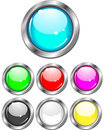 Buttons - set of glossy colors Stock Images