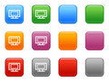 Buttons with tv-set icon Royalty Free Stock Photos