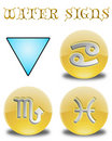 Buttons zodiac water Royalty Free Stock Images