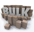 Buy in bulk word many boxes product volume quantity the surrounded by cardboard and packages at a wholesale store to illustrate Stock Photos