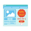 Buy button on blue website purchase with 50 percent sale Royalty Free Stock Photo