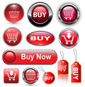 Buy buttons, icons set. Stock Photography