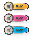 Buy buttons vector three color styles Royalty Free Stock Photo