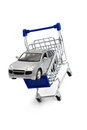 Buy car shopping cart a in a isolated on white Royalty Free Stock Image