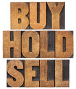 Buy hold sell in wood type investing concept isolated words vintage letterpress Royalty Free Stock Photo
