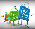 Buy local bags represent neighborhood business representing and market Royalty Free Stock Image
